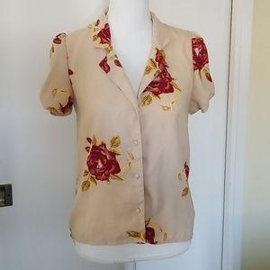 Amuse Society Tan & Red Roses Short Sleeve Shirt